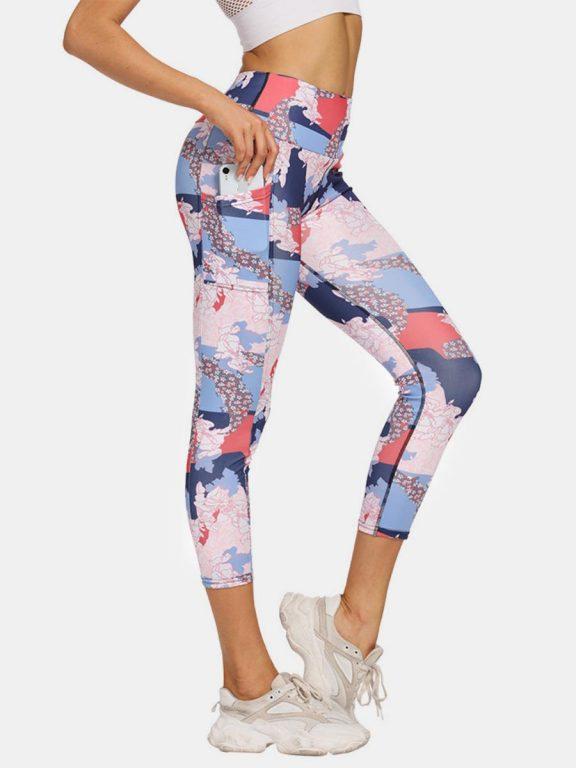 shestar wholesale colorblock graphic side pocket yoga legging