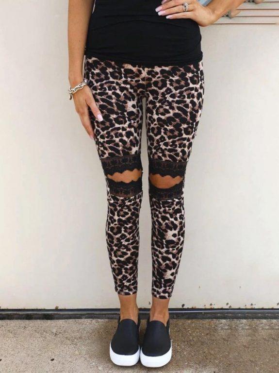 shestar wholesale leopard print lace trim legging pants