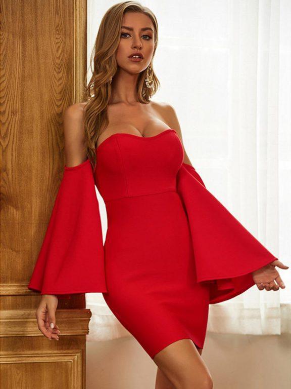 shestar wholesale off-the-shoulder flare sleeve mini evening dress
