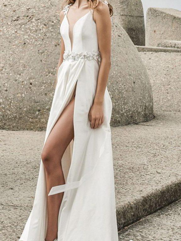 shestar wholesale sexy back bow floral waist split wedding dress