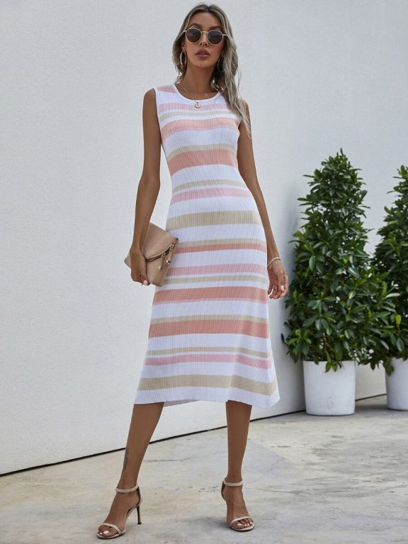 Colorful Stripe Knitted Tank Dress