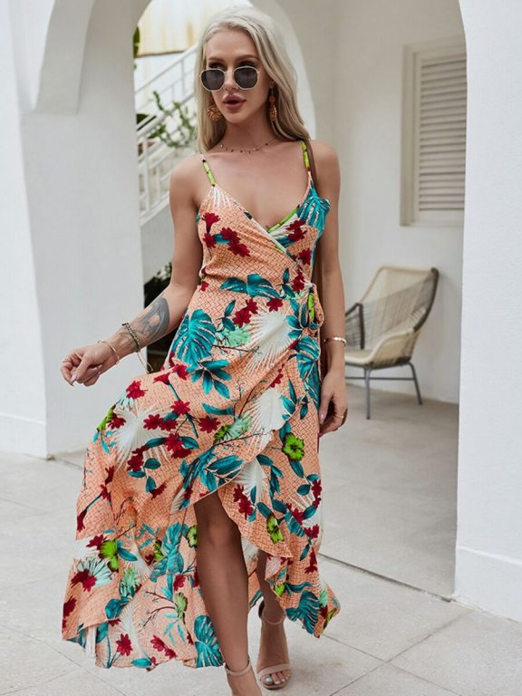 Ruffle Hem Floral Print Wrapover Tied Sundress