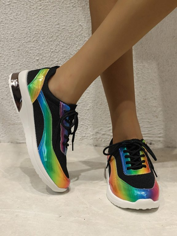 Lace-up Rainbow Design Women Sneakers