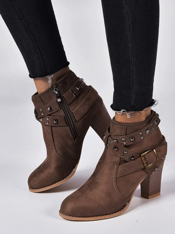 Studded Trim Suede Ankle Boots