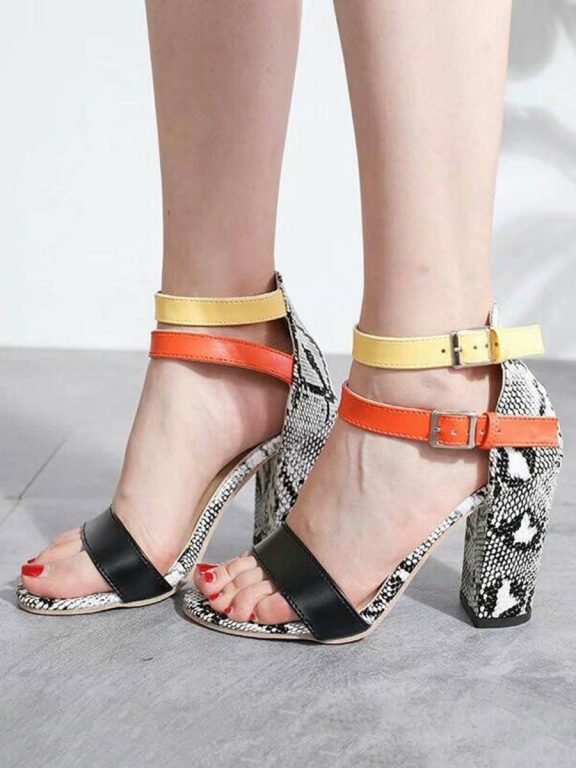 Hit Color Ankle Straps Snake Skin High Heel Sandals